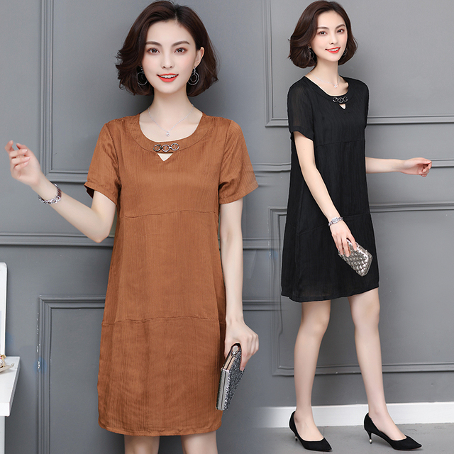 L 5XL Big Size Office Lady Casual Party Loose o neck Short Sleeve Plus Size Summer Black khaki Elegant Woman Cocktail dresses