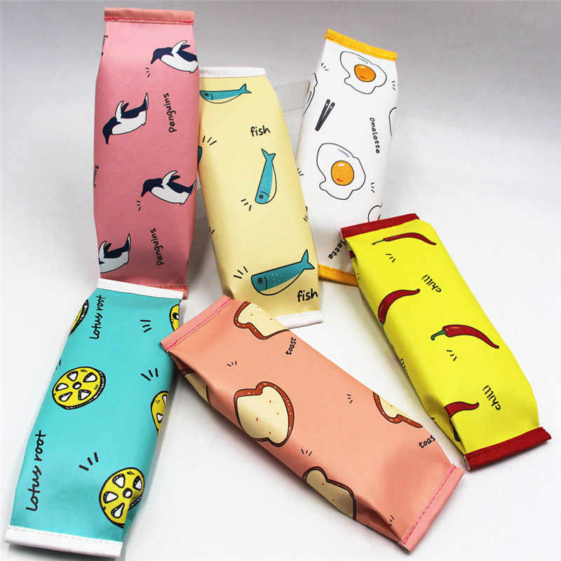 6 Colors Simulation Snack Zipper Pencil Cases Large Capacity Soft PU Leather Pen Bags School Supplies Stationery Pouch Organizer
