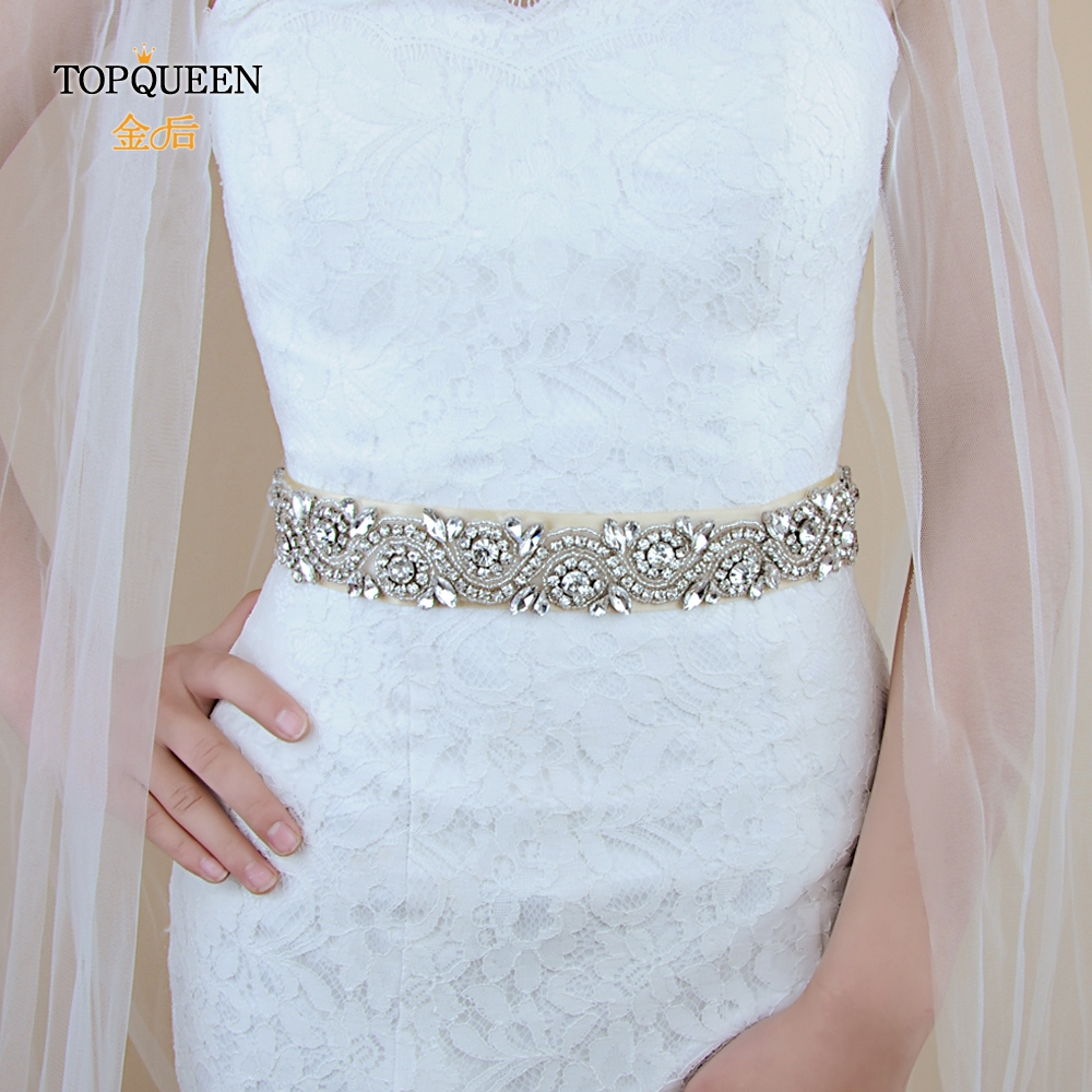 TOPQUEEN S164 Silver Diamond Belt Bridal Sash Ribbon Belt Rhinestone Pearls Wedding Belt Wedding Dress Belt Evening Dress Belt