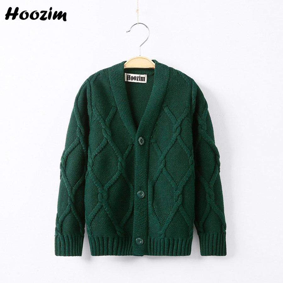 Fashion Green Minimalist Solid Plaid V Neck Knitted Sweater Boys 3-11 Years Simple Long Sleeve Thick Warm Velvet Cardigan Girls 1