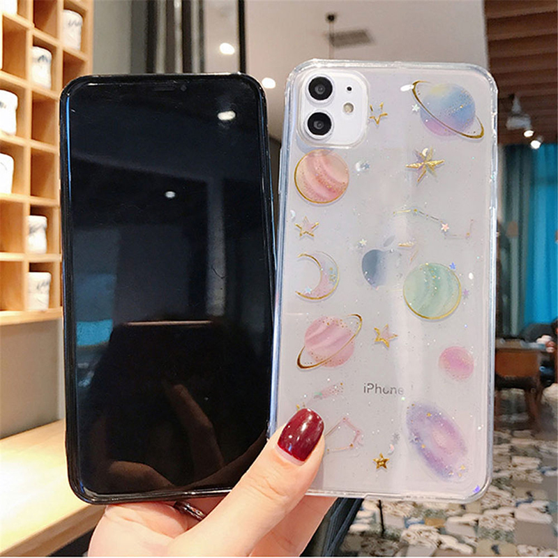 3D Diamond Planet Stars Moon Soft Silicone Case For Samsung Galaxy A8 A6 S8 S9 S10 Plus S7 Edge J3 J5 J7 Prime Note 8 9 10 Cover