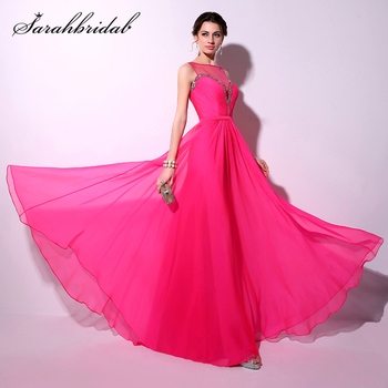 Elegant Fuchsia Sexy Sheer Neck Crystal Women Prom Dresses Fashion A-line Floor Length Party Gowns Real Picture TZ018