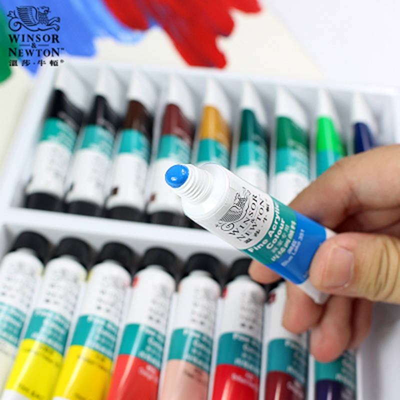 WINSOR&NEWTON 10ML 12/18/24 Colors Professional Acrylic Pigment Set Fabric Textile Paint Brightly Colored Craft Paints Pigments