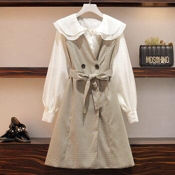 Conjunto de dos piezas coreano dulce para mujer de talla grande 5XL, Blusa de algodón de manga larga blanco y lazo de cuadros, chaleco de cintura, Conjunto elegante para mujer de oficina