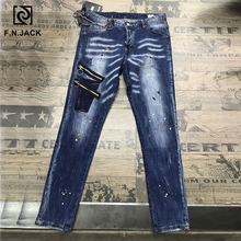 F.N.JACK Jeans Men Ripped  Skinny Pants for Man Slim Straight Denim Zipper Calca Masculina Man Jean Pencil Pants Vaqueros Hombre