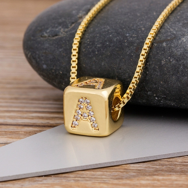 2020 Hot Sale A-Z Initials Micro Pave Copper CZ Cube Letter Pendant Necklaces For Women Men Charm Chain Family Name Jewelry Gift 5