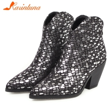 KARINLUNA New Winter Plus Size 33-46 Brand Designer Booties Lady Fashion Bling Ankle Boots Women Party High Heels Shoes Woman fashion brand new women ankle boots famous designer high heels platform shoes woman black leather short chelsea booties women