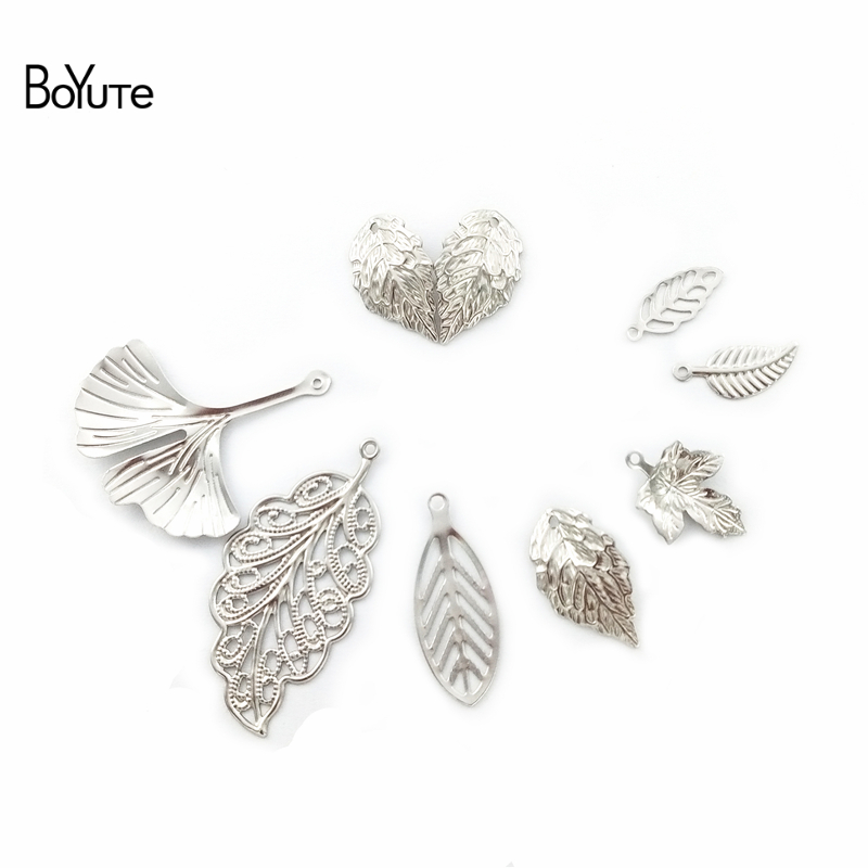 BoYuTe Metal Stainless Steel Ginkgo Maple Leaf Charms Diy Hand Made Jewelry Materials Wholesale