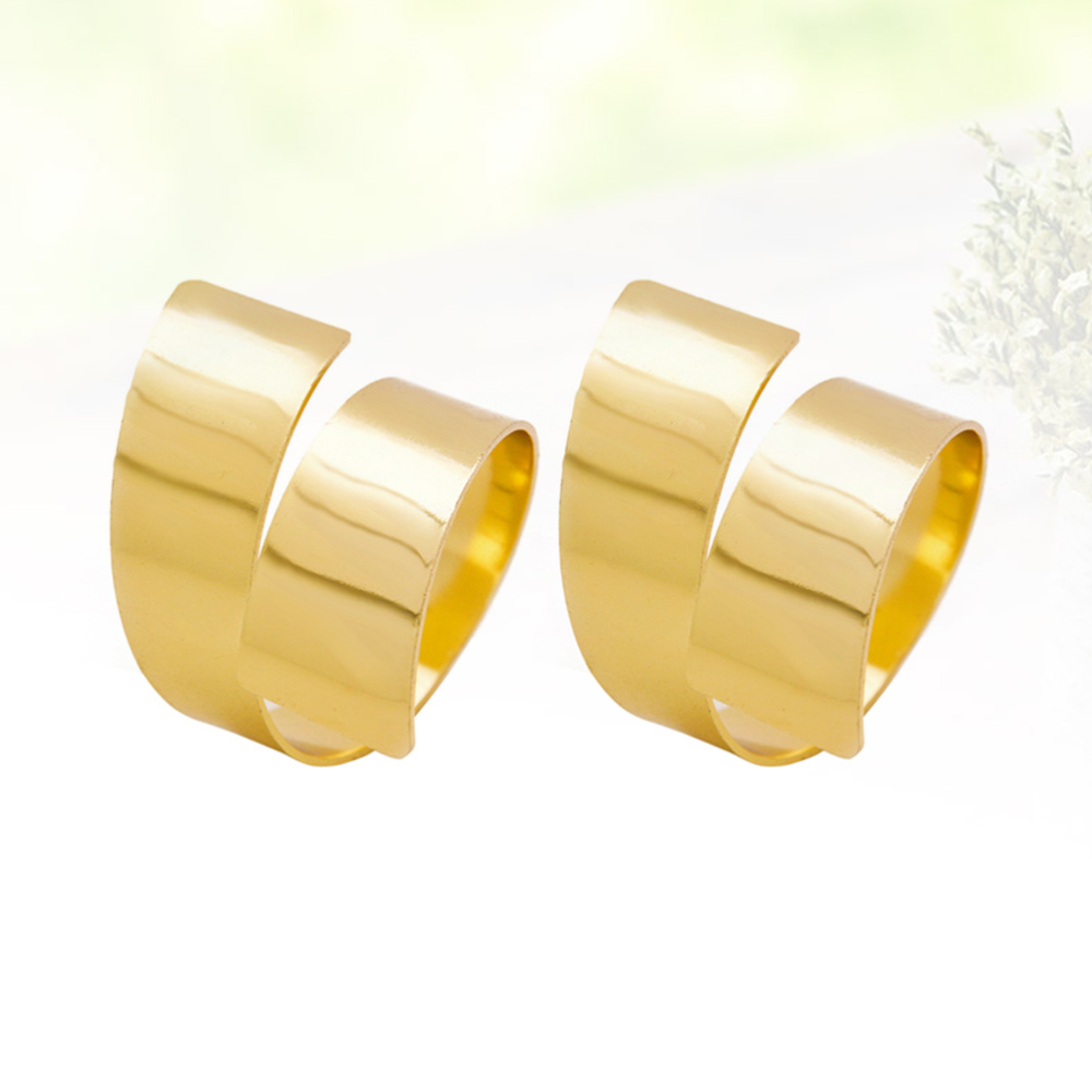 Symbol Of The Brand 4pcs Alloy Napkin Rings Hotel Western-style Napkin Buckle For Dining Table (golden) Beautiful In Colour