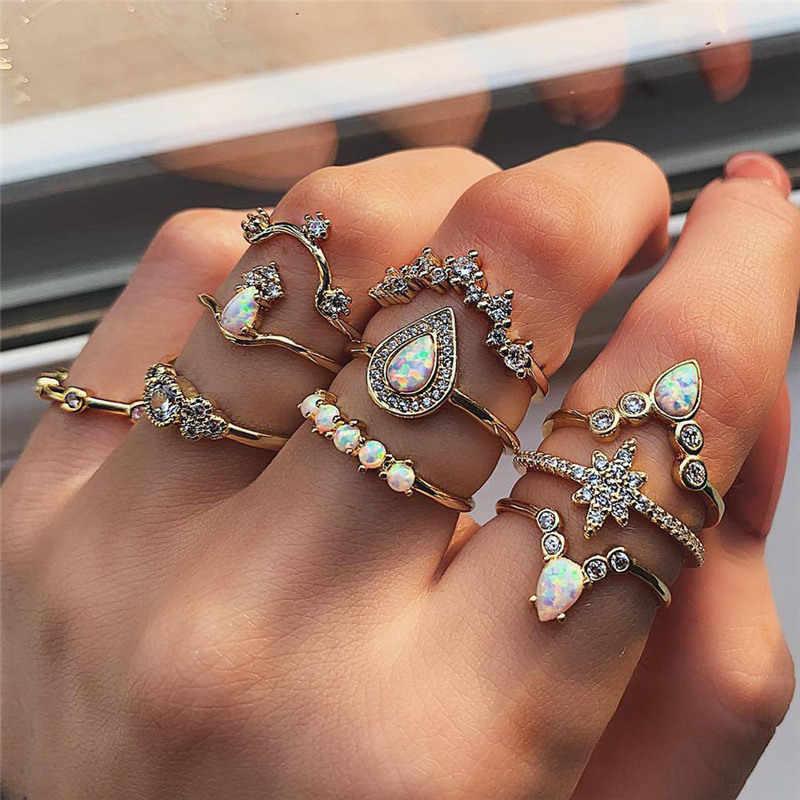 تصميم جديد Vintage الذهب تاج نجمة القمر خواتم مجموعة للنساء البوهيمي أوبال كريستال حلية حلقة مشتركة مجوهرات الزفاف هدية