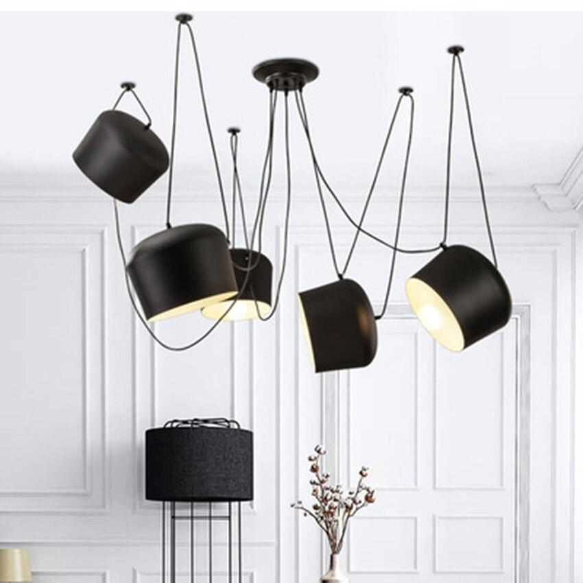 Nordic Black/White Small Drum Led Aluminum Pendant Restaurant Living Room Cafe Bar Suspension Light Fixtures Luminaire Luminaria