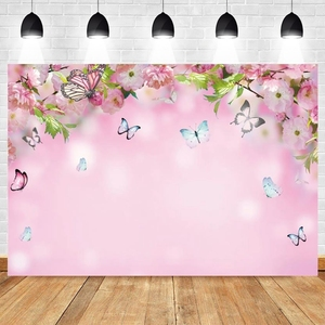 Wedding Photocall Pink Beautiful Flower Baby Shower Birthday Backdrop Vinyl Photography Background For Photo Studio Photophone