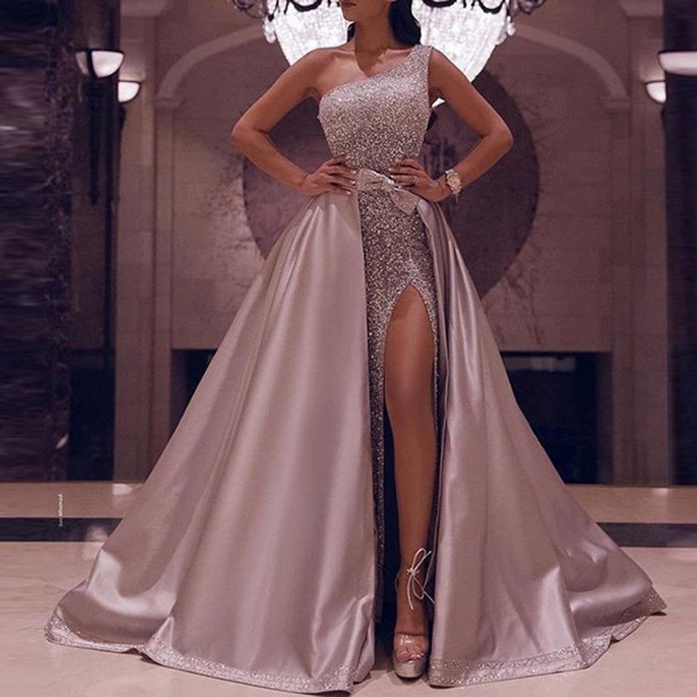 Pink Elegant Evening Dress One Shoulder Sleeveless A Line Sequins Floor Length Wedding Party Formal Gowns Evening Dresses