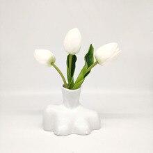 White Ceramic Vases Tabletop-Vase Sculpture Bust Statue Home-Decoration Porcelain Flower Arrangement