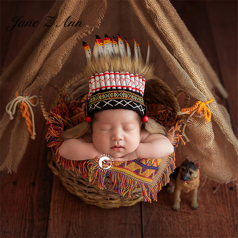 Jane Z Ann Newborn Indian Photography creative Theme costume feather hat clothes studio shooting accessories 1