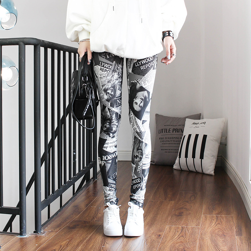 VIIANLES Women Leggings Sexy Newspaper Digital Print Pant Slim Fitness Push Up Pants Woman Leggins Workout Plus Size Leggings