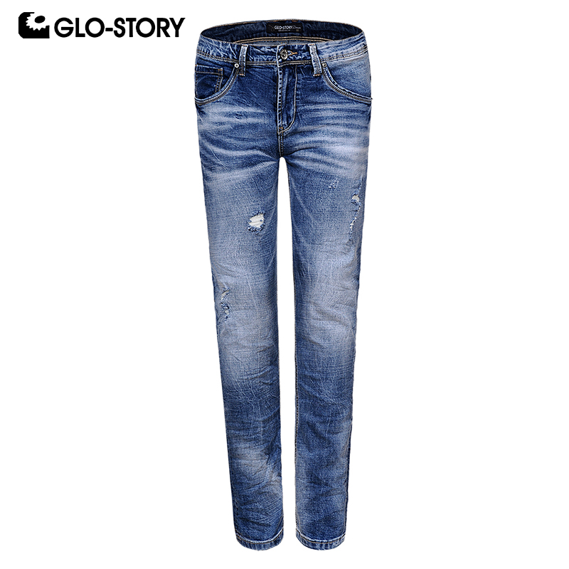 GLO-STORY Men's Hip Hop Streetwear Fashion Jeans Men Full Length Slim Fit Distressed Ripped Skinny Denim Pencil Pants MNK-8208