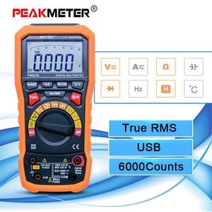 Cyfrowy miernik uniwersalny Auto zakres multimetro urządzenie do pomiaru temperatury i rejestrator danych 6000 liczy PEAKMETER MS8236
