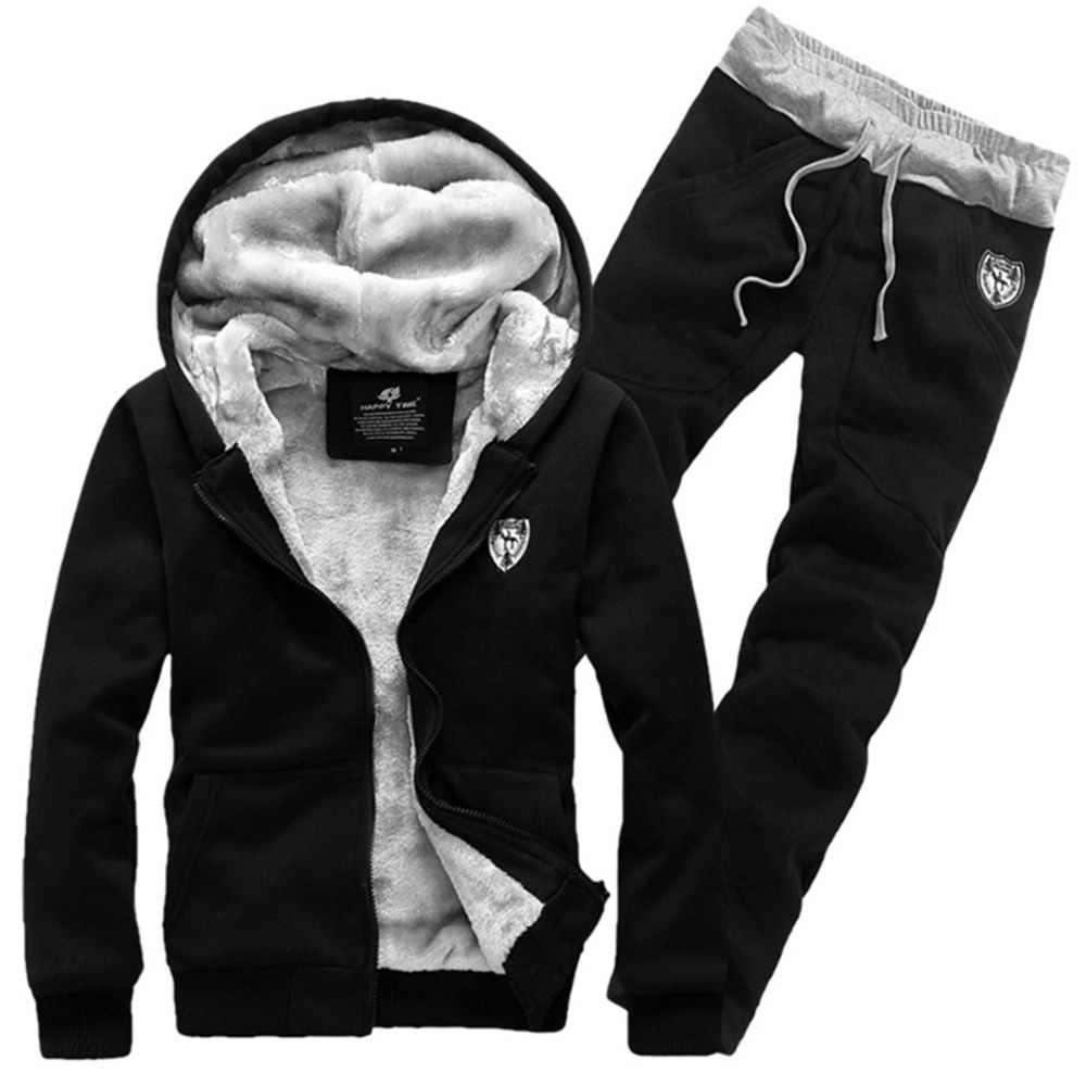 厚いウォームスーツ男性ファッション暖かいベルベットのパーカーセット男性スポーツウェア冬グレー赤黒 3XL ジャケットコート + パンツ