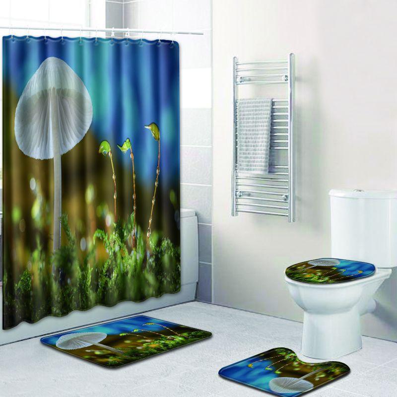 3D fleur motif écran de bain rideau de douche imperméable Polyester lavable moderne couverture de siège de toilette anti-dérapant tapis de bain Home Deco