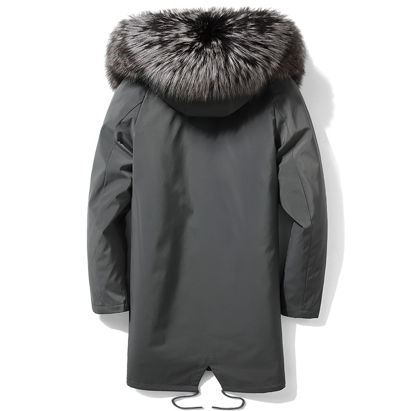 Winter Parka Real Fur Coat Men Rex Rabbit Fur Liner Winter Jacket For Men Fox Fur Collar Warm Parkas Hombre 2020 4948