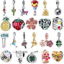 Charms Bead Necklace Balloon-Flower Pendant Diy Lucky-Clover Bangle-Chain Apple Fit Gift