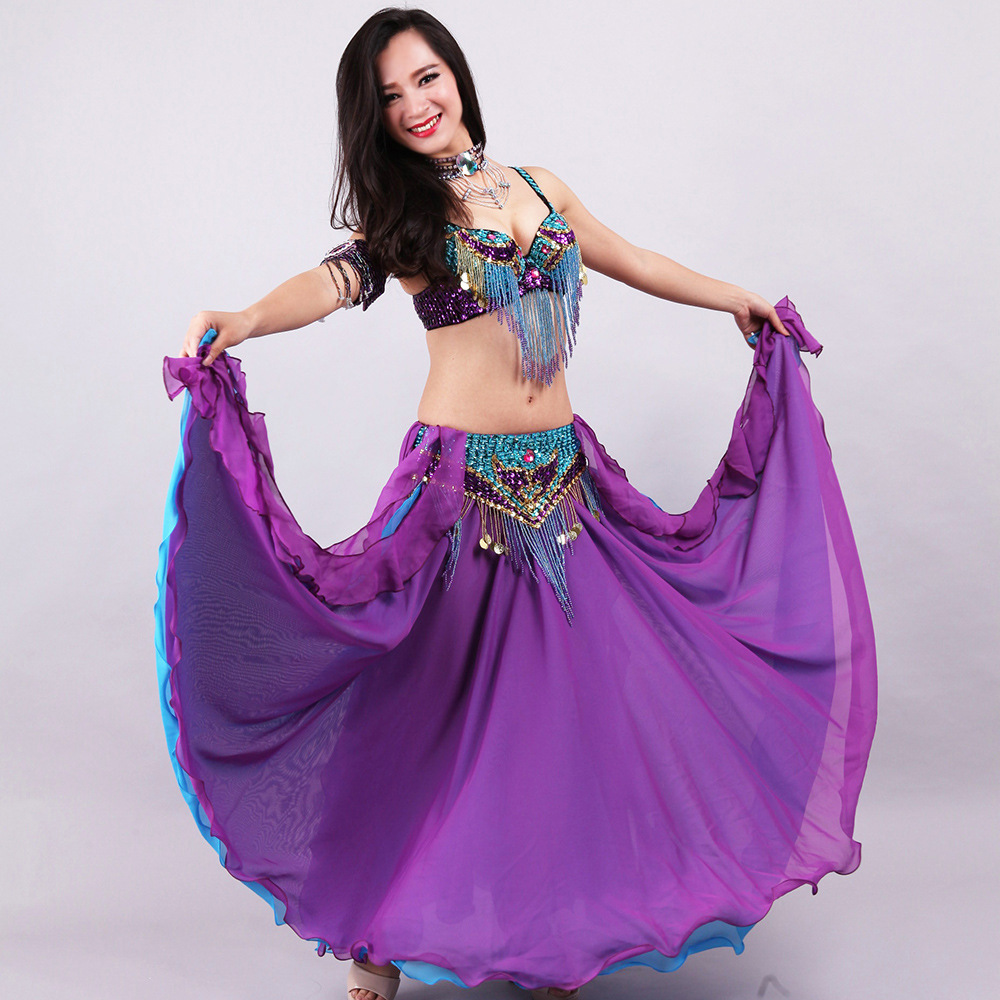 5pcs Sets Belly Dance Costume For Women Ladies Bellydance Beaded Bra&Belt Adult Chiffon Skirt Stage Performance Dancewear Girls