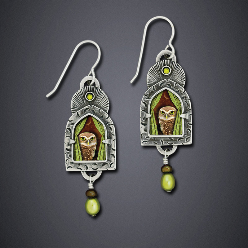 Vintage Olive Green Pearl Owl Long Earrings for Women Ancient Egypt Tribal Window Curtains Beaded Crystal Statement Earrings(China)