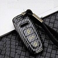 Couverture de porte-clés étui à distance de voiture d'abs de fibre de carbone brillante pour Audi A6 C8 A7 A8 2018 2019 accessoires de voiture de style