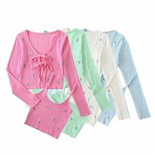 Elegant women knitted blouse sets 2020 fashion ladies floral embroidery tops set female streetwear bow cardigan girls chic shirt