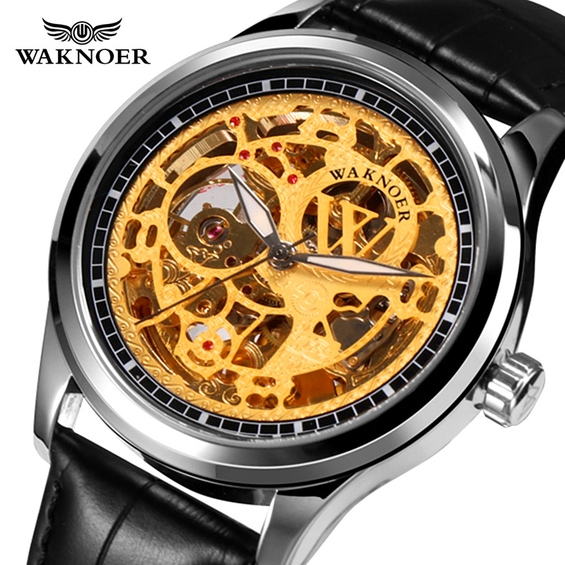 Brand Waknoer Leather Watches Business Fashion Hours Male Montre Relogio Masculino Saati Men's Automatic Mechanical Wristwatch