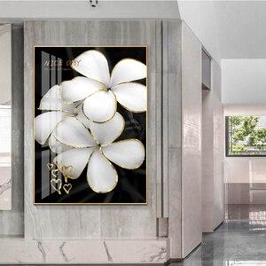 HD-принты, домашний декор, абстрактные золотистые картины, постер, цветы, листья, настенная Картина на холсте, модульные картины без рамки для гостиной