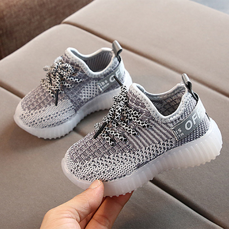 2019 Fashion Children Baby 3 Colors Boys Shoes Mesh Led Light Girls Shoes Luminous Running Sport Sneaker Shoes Breathable