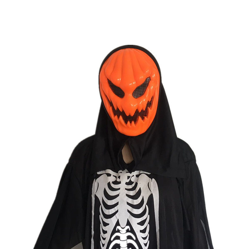 1Pcs Funny Frightening Orange Skull Face Mask Party Hats Children Entertainment Toys Creative Halloween Supplies Trick Or Treat