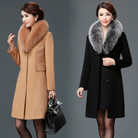 2019 Coats and Jackets Women Winter Fur Collar Office Lady Covered Button Elegant Coat Female Outwear Ladies Coats Plus Size 3XL