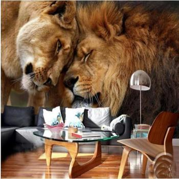 Custom wallpaper HD 3D domineering lion animal photography TV backdrop wall large mural living room Animal paper