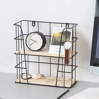 INS Iron Double Layer Storage Rack Creative Wall Decoration Hanging Storage Shelf Home Living Room Storage Rack