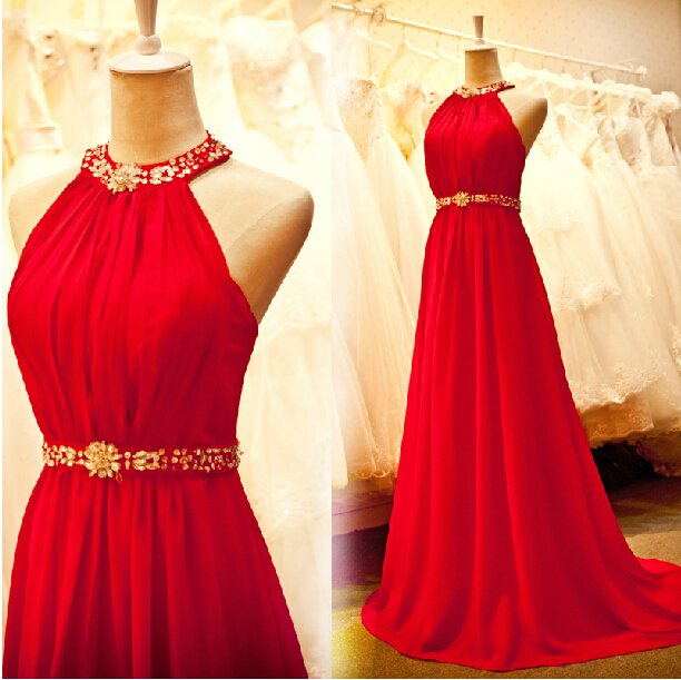 2018 Vestido De Festa A-line Long Beading Red Chiffon Party Sexy New Style Custom Women Casual Free Shipping Bridesmaid Dresses
