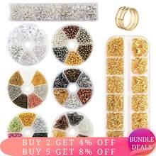 Conjunto de descobertas de jóias anéis de salto aberto solto espaçador grânulos brinco ganchos de borracha brinco costas para fazer jóias diy artesanato