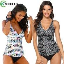 Swimsuit 2019 Two Piece Tankini Swimsuits Women Swimwear Vintage Plus Size Padded Bathing suit Bikini set XXXL