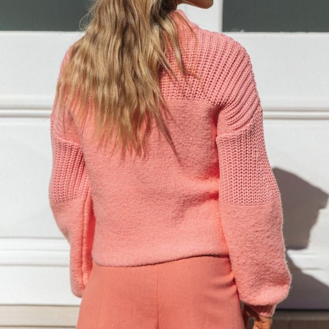 Sweaters For Women Pullover Solid Color Stitching Loose Knitted Sweater Fashion Winter Clothes Women Ladies Tops Ropa Mujer 2020