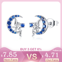 BISAER 925 Sterling Silver Fairy Elf Moon Stud Earrings Blue