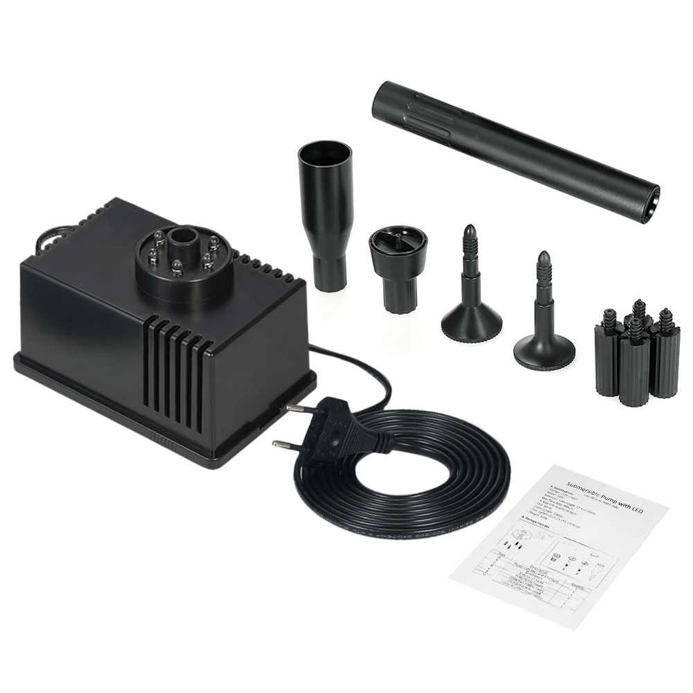 New 5/10W Submersible Water Pump for Aquarium Fish Tank Water Pump with LED Light Pond Garden Fountain 500-600L/H AC 110-220V