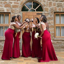 Cheap Red Bridesmaid Dresses Shiny Top Sequins Scoop Neck ve