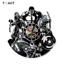 The Avengers Shape Vinyl Record Clock Creative Hollow Marvel Comics Led Wall Clocks Iron Hanging Watch Creative Antique Watches