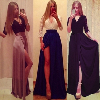 Women Soft Cocktail Wedding Prom Evening Party Formal Lace Long Dress European And American Sexy Ban
