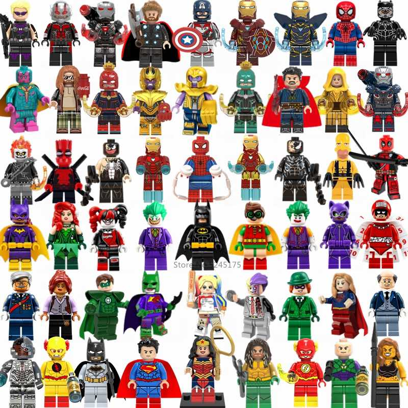 MARVEL Super Heroes Thanos Iron Man Thor Hulk Spiderman Batman Avengers Building Blocks ตัวเลข Playmobil ของเล่นสำหรับของขวัญเด็ก