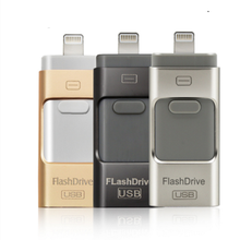 PENDRIVE usb otg de 16GB 32GB 64GB 128GB para iPhone 6,6 Plus 5 5S ipad PENDRIVE HD memoria stick doble uso móvil(China)