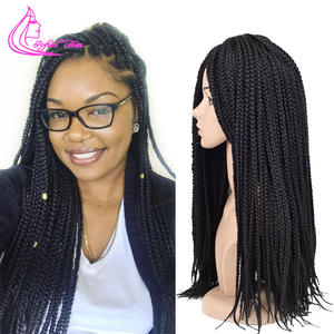 Hair-Extensions Crochet-Box Braids Ombre Black Synthetic 18-22inches Brown 14 Gray Refined