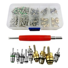 New 135pcs Copper Plastic A/C System Schrader Valves with Remover Tool For R12/ R134A HVAC Valve Kit